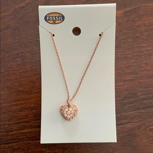 Fossil Rose Gold Color studded heart necklace